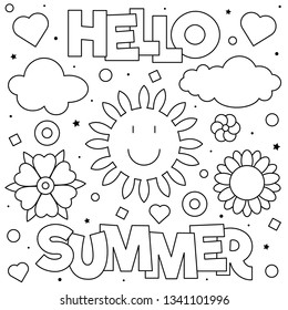 Hello summer. Coloring page. Vector illustration. Sun, clouds, flowers.