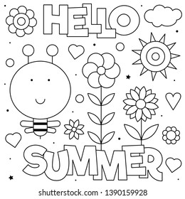 Hello summer. Coloring page. Vector illustration. Sun, bee, flowers.