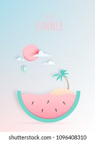 Hello summer concept art in paper art style with pastel color scheme vector illustration