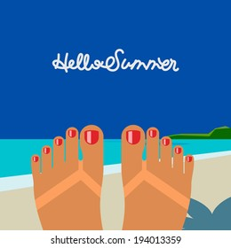 Hello summer - concept background, self shoot female feet tanned on the beach, selfie. Vector image.