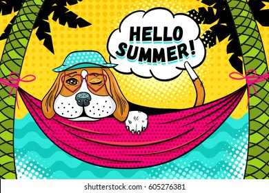 Hello summer! Cute beagle dog in panama and glasses in the shape of a heart lying in hammock between palm trees on the beach, winking and smiling.Vector illustration in retro comic pop art style.