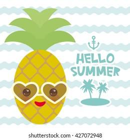 Immagine Vettoriale A Tema Cute Funny Kawaii Exotic Fruit Pineapple
