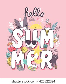 Hello Summer - cute illustration with french bulldog, cat, ice cream, cupcake, cacti plant, pineapple, watermelon and flip flops.