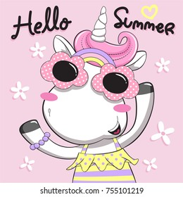 Hello summer with cute unicorn girl wearing funny sunglasses isolated on pink background illustration vector.