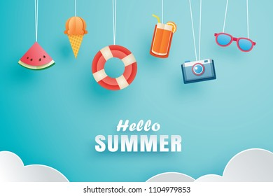 Hello summer with decoration origami hanging on the sky background. Paper art and craft style. Vector illustration of life ring, ice cream, camera, watermelon, sunglasses, orange juice.