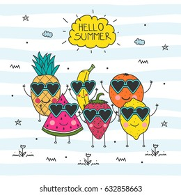 Hello Summer doodle illustration with hand drawn lettering and fruit cartoon characters - watermelon, lemon, pineapple, strawberry, banana and orange. Vector Illustration. Summer background.
