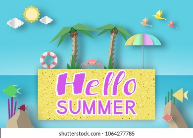 Hello Summer Fancy Origami Paper Symbols, Sign, Elements with Phrase Illustrate the Greeting of the Fun Summertime Season. Trendy Background, Banner, Card, Poster. Vector Illustrations Art Design.