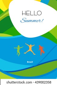 Hello Summer festive background, cover brochure with group kids jumping on abstract colorful sea background. Rio Summer Games, 2018 Brazil. Rio Vector Sport Camp for Art, Print, Web design advertising