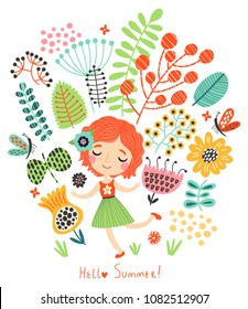 Hello Summer! Floral background