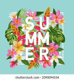 Hello Summer Floral Poster. Tropical Exotic Flowers Design for Banner, Flyer, Brochure, Fabric Print. Summertime Watercolor Background. Vector illustration