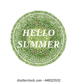 Hello summer flowerbed with flowers and butterflies, wavy grass decorated badge, hand-drawn vector illustration.