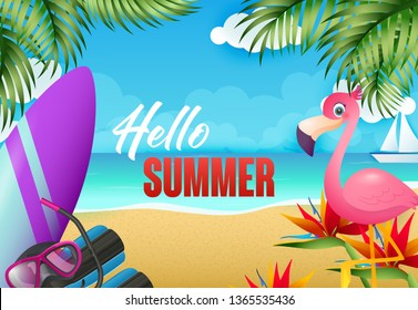 Hello summer flyer design. Flamingo, surfboard, diving mask on tropical beach with sea and sail boat in background. Vector illustration can be used for resort banners, travel posters, greeting cards