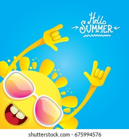 hello summer funky rock n roll vector label isolated on white. summer party background with funky sun character design template. vector summer party poster