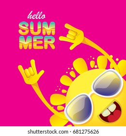 hello summer funky rock n roll vector label isolated on pink background. summer party background with funky sun character design template. vector summer fun poster