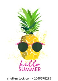 hello summer funny vector illustration. pineapple wearing glasses. exotic tropical fruit watercolor drawing.  summer vacation greeting card