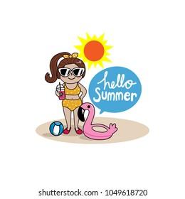 Hello summer with girl in bikini on the beach.