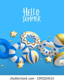 Hello Summer greeting card illustration. 3D life savers, stars and beach balls in luxury gold colors. Elegant pool party invitation or summertime season event concept.