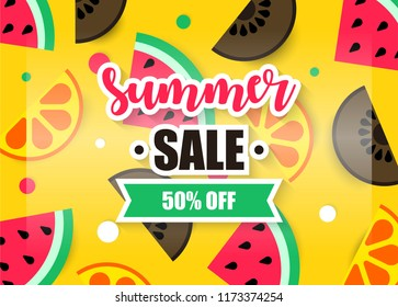 Hello summer greeting card, poster and banner design. Discount big sale offer for shopping lover. Vector illustration