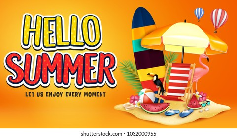 Hello Summer Greeting Text in Orange Background Banner with Realistic Toucan, Flamingo, Watermelon, Surfboard, Beach Ball, Sunglasses, Flowers, Palm Tree Leaves in Sand Island