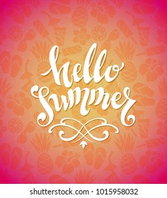 Hello Summer - Hand drawing calligraphy. Hand drawn vector illustration set of summer elements.
