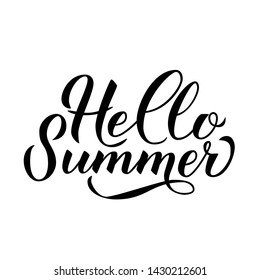 Hello summer hand drawn brush lettering isolated on white. Inspirational quote calligraphy poster. Easy to edit vector template for logo design, banner, flyer, sticker, t-shot.