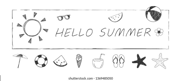 Hello Summer, Hand drawn elements set for summer holiday, travel, vacation, banner. Vector illustration.