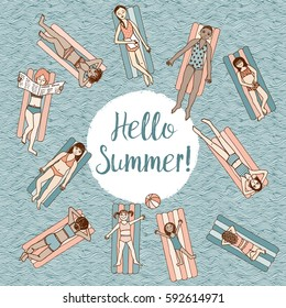 Hello Summer! Hand drawn illustration of girls and women lying on air mattresses in a swimming pool