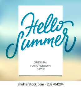 HELLO SUMMER hand lettering handmade calligraphy template and summertime beach background