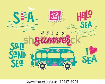 Hello Summer Handdrawn Lettering Stamps Summer Stock Vector Royalty