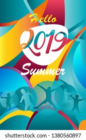 Hello Summer Holiday Abstract colorful poster template 2019, fluid color geometric dynamic shapes sea beach Sport party tropical background. Kids camp soccer championship Brazilian football icon sign