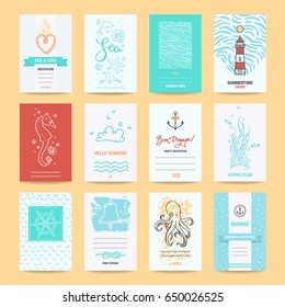 Hello summer holiday, sea vacation, marine trip card, wedding invitation, party flyer, poster template. Artistic collection of summertime traveling hand drawn design elements, symbols, illustration.