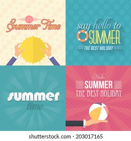 Hello Summer, Holiday, Travel Badge and Web Banner Vector Flat Design