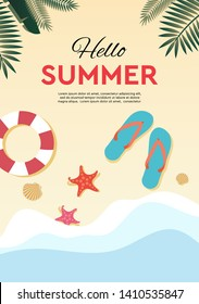 Hello summer, holidays and tropical vacation poster or greeting card. Vector flat design