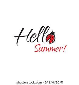 Hello Summer inscription with ladybug