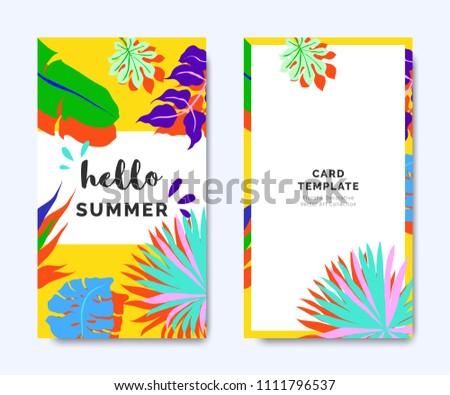 hello summer invitation card template design stock vector royalty