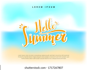 Hello summer landscape banner with brush typography and painting background
