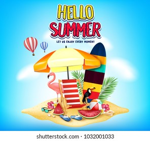 Hello Summer Let Us Enjoy Every Moment Message in Cloudy Blue Background with Realistic Toucan, Flamingo, Watermelon, Slippers, Beach Ball, Sunglasses, Flowers, Palm Tree Leaves in Sand Island