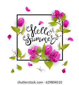 Hello summer. Lettering. 3d. Tropical flowers in a frame. Isolated illustration on white background. Vector.