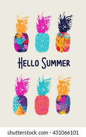 Hello summer lettering concept design, pineapple fruit with happy vibrant colors and retro 80s style art elements. EPS10 vector.