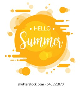 Hello Summer lettering design. Vector illustration EPS10