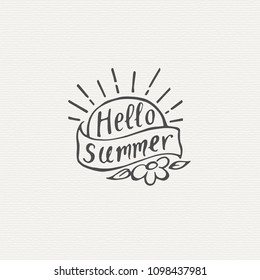 """""""Hello Summer"""" Lettering. Hand Written Unique Typography. Vector Illustration for Your Design."""