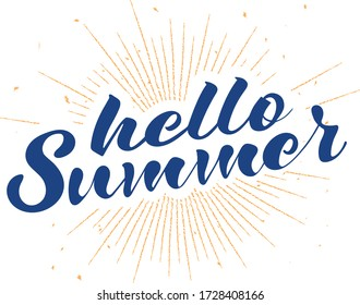 Hello summer lettering sign over yellow sunbeams