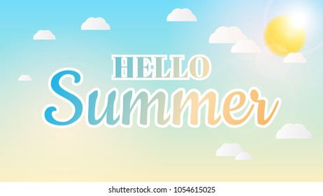 Hello Summer Lettering Text Banner Background. Vector