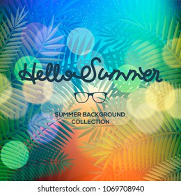 Hello Summer lettering typography on blurred sunset with bokeh lights, vector illustration