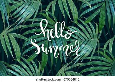 Hello Summer lettering. Vector palm frond. Tropical leaves seamless pattern. Banana leaf background. Exotic card. Hawaiian print. Jungle plants. Summer illustration. Trendy poster.