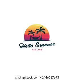 Hello summer logo design vector illustration