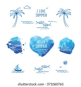 Hello summer. I love summer. Blue watercolor heart. Palm trees, sun, sea, fish and heart for your design.  Doodles, sketch. Vector illustration