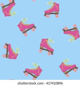 Hello summer. I love summer. Vector illustration. Image rolls. Roller Skates. Summer time. Background with rollers.