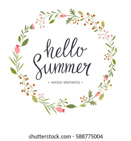 Hello Summer, modern hand drawn lettering. Handwritten inscriptions for layout and template. Vector illustration