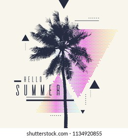Hello Summer, Modern poster with palm tree and geometric graphic. Vector illustration.